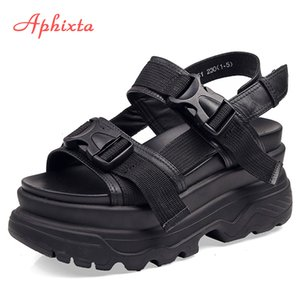 Aphixta 8cm Platform Sandals Women Wedge High Heels Shoes Women Buckle Leather Canvas Summer Zapatos Mujer Wedges Woman Sandal CJ191128