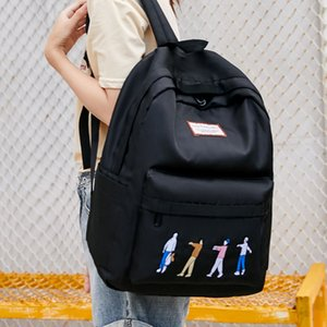 New Hot Ins Wave Ladies Embroidery Backpack Fashion Simple Student Backpack Practical Nylon Waterproof Travel