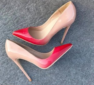 العلامة التجارية الجديدة 8 10 12CM المرأة مصمم الأحمر القيعان الكعوب العالية براءات الاختراع والجلود مدبب تو اللباس الضحلة أحذية فاخرة الفم الأحمر الوحيد الأخضر الزفاف