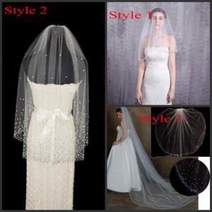 Catedral / dedo véus de noiva com Crystsal Rhinestone Beads Sparkly longo Tulle Branco Marfim Bridal Veil cabelo Acessórios Lantejoula frisada