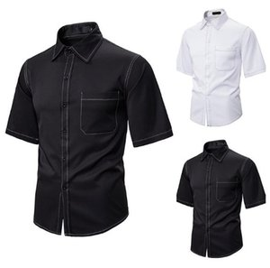Hip Hop Erkek Tasarımcı Gömlek Moda Yaka Yaka Kısa Kollu Relaxed Gömlek Sokak Stili Erkek Yaz Gömlek