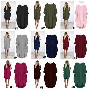 Herbst-Frauen-Taschen-loses Kleid Damen Rundhalsausschnitt beiläufiges lange Mädchen Tops Kleid weibliche Mode Big Vestido Kleider Hemd LJJA3090