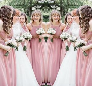Sexy Blush Pink Brautjungfernkleider 2019 Neckholder geraffte ärmellose Kristallperlen Chiffon Schärpen lange Partykleider Hochzeitsgast Kleid