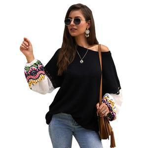 SKTSUUC Vêtements automne femmes pull en tricot O cou lâche Brochage broderie longue lanterne manches Pull noir jaune