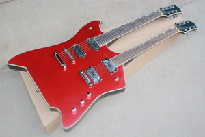Double Neck Metallic Red body 6+7 Strings Electric Guitar with Fixed Bridge,Body Binding,HH Pickups,can be customized