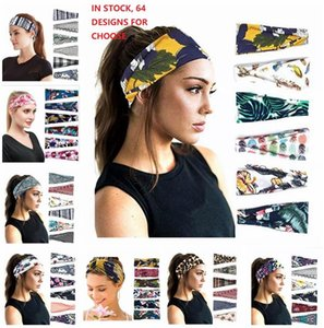 Hot Yoga Running Headbands For Women High Quality 64 designs Girls Sports Workout Cotton Floral Leopard Flag Printed Hair Bands Headwraps