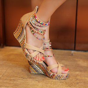 Lucyever 2019 Summer Women Colorful Beads High Heels Sandals National Style Wedges Platform Bohemia Shoes Woman Plus Size 34-43 Y200702