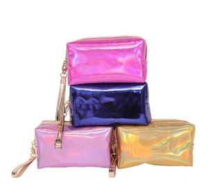 Bestselling PINK цвет лазера Косметический мешок 18 * 8 * 10.5cm водонепроницаемый макияж сумки Женщины лазерной вспышки Алмазные кожаные сумки Детские кошелек