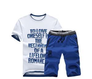 BSETHLRA 2019 yeni yaz erkek t-shirt set Sıcak satış rahat pamuk kısa kollu gömlek Homme Rahat Seti erkek boyutu WGTX134
