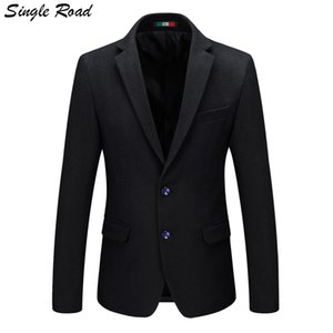 Single Road 2019 Blazer en laine Couleur unie Coton Hommes Slim Blazer Jacket Vestes pour hommes pour les mariages Vestes formelles SR35
