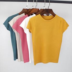 BYGOUBY Yaz Örme Kadın Tişörtlü Yüksek Elastikiyet O-Boyun Kısa Kollu Tee Gömlek Nefes Kadın Tişörtü