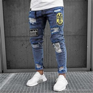 Erkek Jeans Skinny Tasarımcı Hombres Jeans Biker Sokak Hiphop Stil Genç Kaykay Jeans