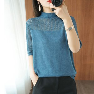 Knitted Hollow Half-sleeved Pullovers Sweater Women Half Turtleneck Loose Korean Shirts Female Thin Lace Knit 2020 Spring Summer