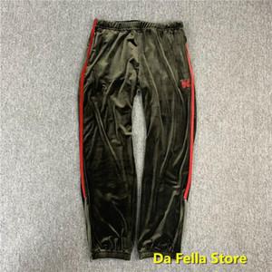 Aghi Pantaloni Uomo Donna AWGE X aghi velluto pantaloni lato Rosso piede farfalla ricamo Zipper Pantaloni in velluto di buona qualità