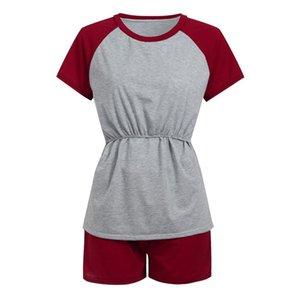 Nursing Top Pajamas Set Women Elegant Short Sleeve Casual Loose T Shirt Feeding Maternity Pregnancy Clothes Plus Size 19Feb13