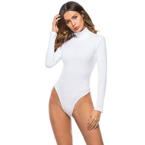EIFER cotton long sleeve high neck skinny bodysuit summer autumn winter women black white solid sexy body suit T200704