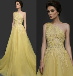 Yellow Elie Saab A Line Formal Evening Gowns One Shoulder Flower Appliques Prom Dress Custom Made Fashion Formal Runway Wear