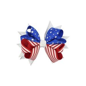 stampa bandiera americana Barrettes arco dei capelli clip 3 stili di rondine forcine Capelli archi bambini clip di capelli Accessori TJY268