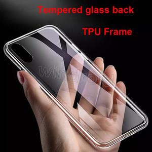 Temperli cam geri Temizle Şeffaf Kılıf iPhone X XR XS Max i7 artı TPU Çerçeve Kapak Arka Koruyucu hiçbir ucuz sarı kaşıyan i8