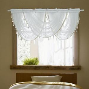 Şelale Valance Perdeler Gümüş İpek Hattı Boncuklu Perde Valance Şeffaf Pencere Perde İçin Mutfak Salon