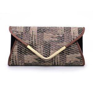 Fashion Small Formal Business Envelope Clutch Bags For Women Folk Pattern Pouch With Chain Outdoor Purse Elegant Handbags