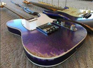 Chitarra Masterbuilt Heavy Relic Big Sparkle Viola metallizzato Tele elettrico Alder Corpo, manico in acero Manico di chitarra, 3 Scopare Ponte, Vintage sintonizzatori