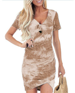 Tie Dye été irrégulière Robes Femmes Sexy V Neck Dress Casual Ladies Holiday Apparel