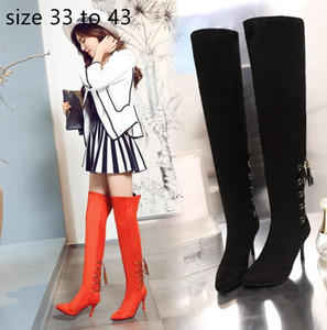 fashion luxury designer over the knee thigh high boots women winter boots stiletto heels orange red black size 32 to 42 43