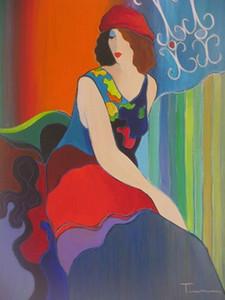 Nouvelles Itzchak Tarkay Figuration Accueil Oeuvres modernes Portrait Senhora main peinture à l'huile sur toile Concave Convexe Texture IT067