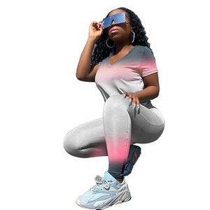 Dégradé de couleur Designer Femmes Survêtements Slim manches courtes T-shirt ras du cou longues Pantalons Mode Femmes Suit Sport