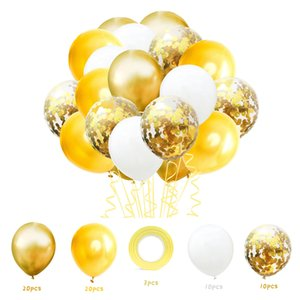 60pcs 12inch Birthday Wedding Party Supplies Metal Latex Balloon Confetti Baloons Kids baby shower Globos Chrome Balloons