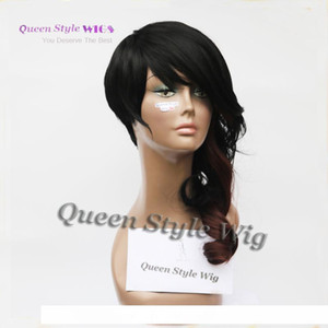 H New Celebrity Rihanna Asymmetric Hairstyle Wig Synthetic Short Black Brown Color African American Party Wigs For Black Woman