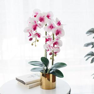 Decoração Home Artificial Phalaenopsis Bonsai Falso Falso flor de seda borboleta Orquídea vaso Simulação Artificial planta de flores no atacado