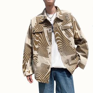 İlkbahar ve Sonbahar Yeni erkek Yıkanmış Baskı Denim Ceket erkek Kore Baskı Gevşek Büyük Boy Şerit Uzun Kollu Ceket 3XL