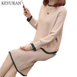 Мода Two Piece Set женщин платья 2020 осень зима Вязаный топ с длинным рукавом свитера высокой талии тонкий юбка Женщины Одежда