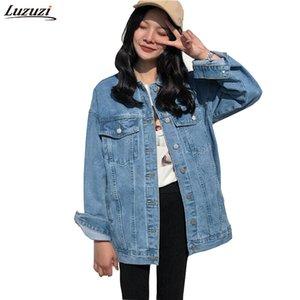 Luzuzi Turn-down Yaka Jean Ceket Kadınlar için Gevşek Rahat Mavi Moda Kadın Kat Kadın giyim Denim Kadınsı CE3140