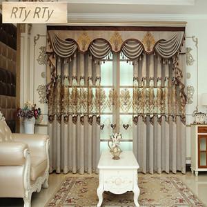 Cortinas Set Jacquard Tulle cortinas marrom para sala de estar pano Blackout para decoração Quarto casa cortinas
