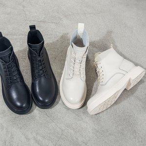 Stiefel Frau 2019 echtes Leder England Einzel Boots Chalaza Kopf mit flachem Boden Coarse Mit Kurzem