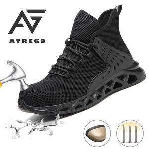AtreGo Casual prova respirável leve ao ar livre Sneakers Puncture Botas Homens Aço Toe prova de punção Sapatos Segurança do Trabalho