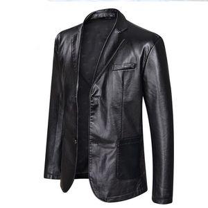 크기 남성 빅 PU 가죽 재킷 캐주얼 싱글 브레스트 의류 코트 디자이너 재킷 5XL 6XL 플러스
