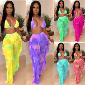 Ruffles Designer Mesh Tie Dye Two Women Piece Halter PINK Swimsuit Print Swimsuit Bikini Top Though Outfits Bra Galaxy 2021 Splicing Pa Aqwk