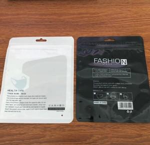 Dans Masque stock Sac d'emballage clair OPP Adhensive Masque d'emballage Sacs Sac Zipper Anglais en plastique translucide pour enfants Masques adultes GGA3447-4