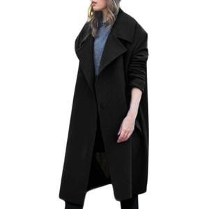 Diseño de moda de Alta Calidad Para Mujer de Invierno Abrigo de Lana Abrigo Botón Trench Jacket Loose Plus Abrigo Outwear Abrigo Mujeres Invierno