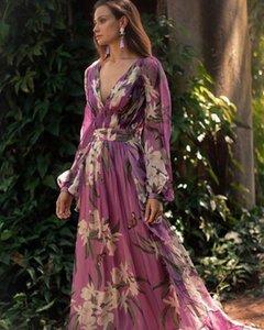 Woman Dress Sexy V-neck Lily Floor-length Dress Printing New Product Purple Long Sleeve Full-length Dress New Arrive 111