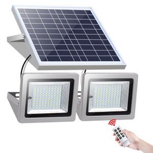 Lâmpadas duplas Holofote solar 63leds 120leds 160leds 200leds Lâmpada de paisagem de luz solar ao ar livre de solar com controle remoto para o jardim de gramado