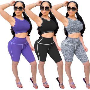 Women plain vest shorts sweatsuit yoga style 2 piece set crop top summer casual clothing capris S-2XL capris tank top shirts DHL 3450