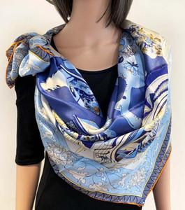 فاخر ساحة الحرير والأوشحة للنساء العلامة التجارية مصمم الاوشحة والشالات الأغطية الحجاب الباشمينا POP جميل طباعة التصميم الشتاء الخمار Neckerc