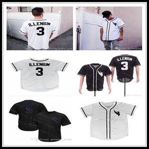 Personalizado Homens Mulheres juventude caçoa 3 Illenium Baseball costurado Grupo-Pescoço Jerseys Tamanho S-4XL frete grátis alta qualidade Branco Preto Sports Shirts