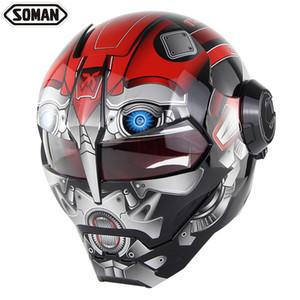SOMAN Ferro Capacete Man Erga Capacete Estilo Robot Motor Bike Casque DOT aprovação SM515