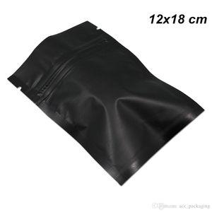12x18 cm 100 Pcs Matte Reseelable Heat Sealer Mylar Foil Bag Black Zipper Food Preparation Equipment Aluminum Foil Pack Pop for Snack Sack
